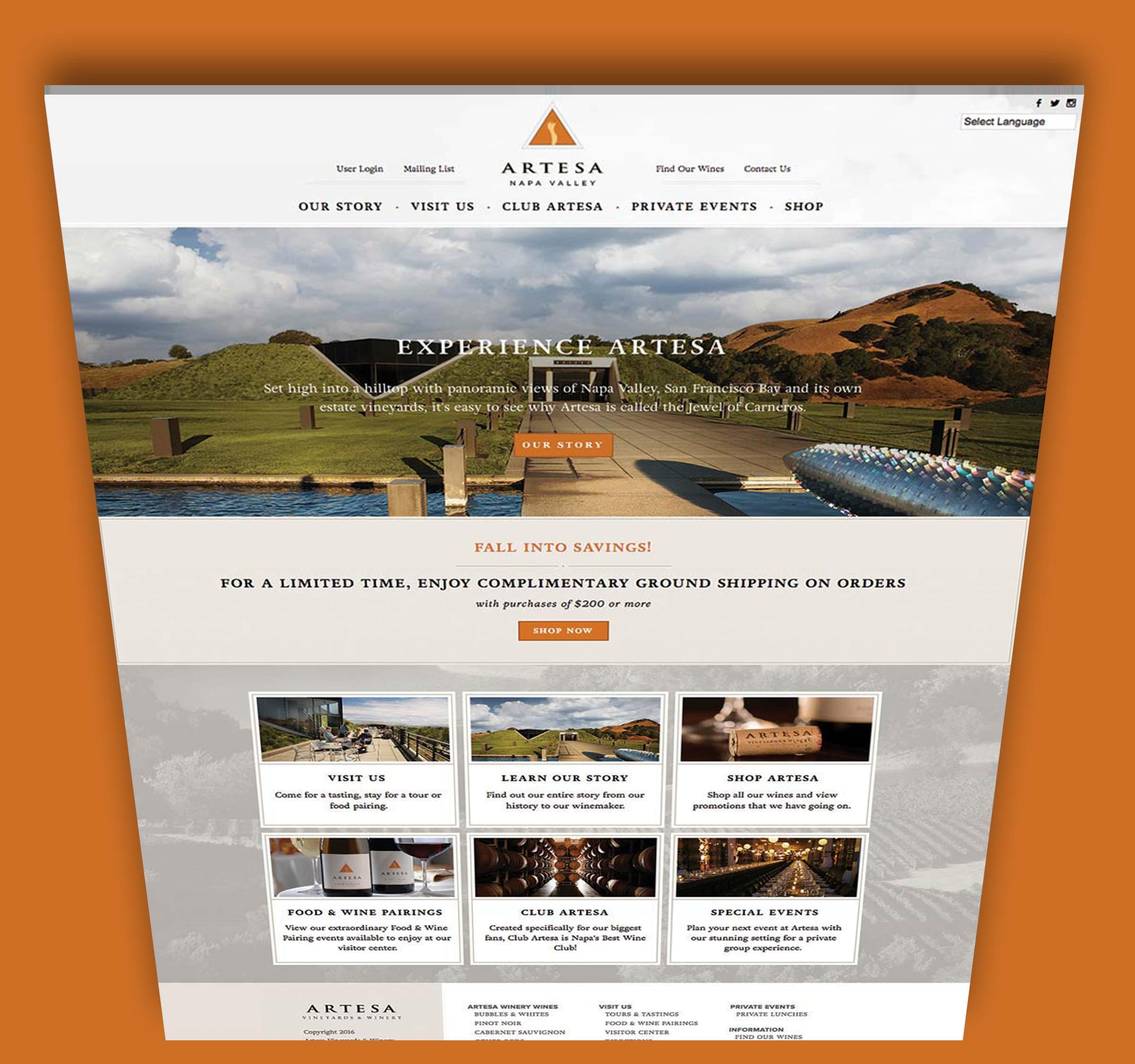 Artesa - Vineyard Website